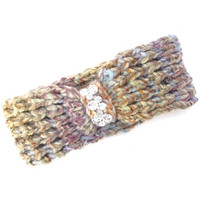 Multicolored knitted headwrap with crystal stone detail