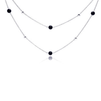 .925 Sterling Silver Rhodium Plated Black Cubic Zirconia Double Strand Pendant Necklace 18 Inches