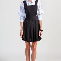 Black Pleated Pinafore Dress
