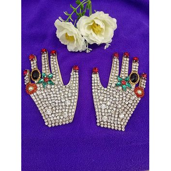 ZGTGLAD1Pcs Rhinestone Hand Beaded Patch for Clothing Sewing on Beading Applique Clothes Shoes Bags Decoration Patch DIY Apparel