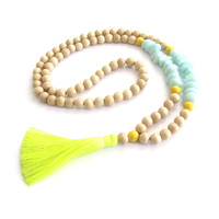 Boho Tassel Necklace - Neon Yellow & Aqua