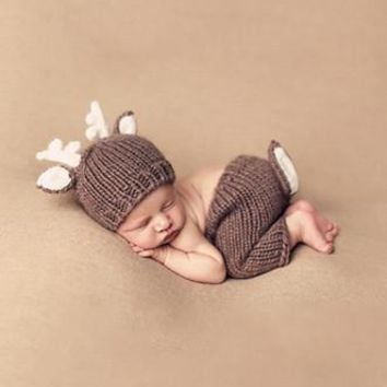 Brown Reindeer With Pants Crochet Knit Outfit Photo Prop - CCC246