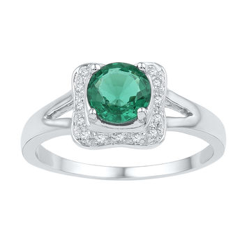 Sterling Silver Womens Round Lab-Created Emerald Solitaire Square Frame Ring 3/4 Cttw 101197