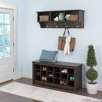 Brown Shoe Rack Durable With Cubicle Storage And Bench