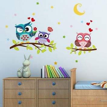 Cute Removable Waterproof Cartoon Animal Owl Wall Sticker for Kids Rooms Home Decor Wall Decals Wall Art (Size: 30cm by 40cm, Co