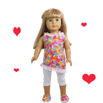 "American Girl 18"" Doll Clothes 2 pc valentine set asymmetrical a-line top, white leggings, I Love You, Heart Candies"