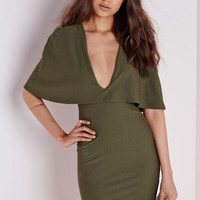Missguided - Crepe Cape Bodycon Dress Khaki
