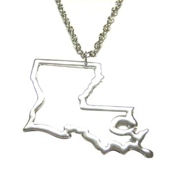 Silver Toned Louisiana State Map Outline Pendant Necklace