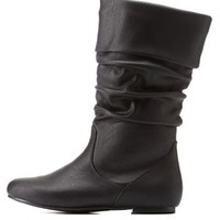 Black Slouchy Flat Fold-Over Mid-Calf Boots by Charlotte Russe