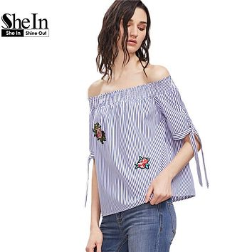 SheIn Summer Blue Striped Off The Shoulder Tie Sleeve Top With Patch Women Short Sleeve Beach Wear Cute Blouse
