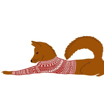 Colorful Contemporary Red Fox With a  Knit Sweater Hand Embroidery Pattern