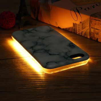 3D Marble LED Light Glowing Selfie Luminous Case for iPhone 6/6s Plus 7/7 Plus 8/8Plus  - iPhone 6 01