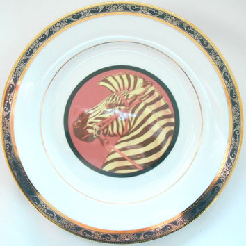 Black and Gold Porcelain Zebra Circus Plates. PAYMENT OPTIONS AVAILABLE, Discounts on Large Orders