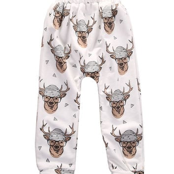 Kids Baby Boys Girls Christmas Deer Bottom Pants Leggings Harem Pants Trousers Casual 0-4T