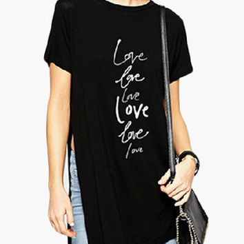 Black Graphic Print Short Sleeve with High Side Slit Tunic Top