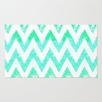 mint chevron Area & Throw Rug by Marianna Tankelevich | Society6