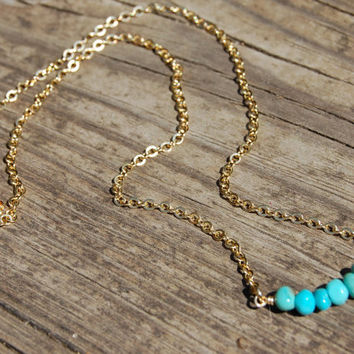 Turquoise Necklace, Healing Gemstone Necklace, Gold Necklace, Chakra Jewelry, Yoga Jewelry, Reiki Charge, minimalist, layered necklace