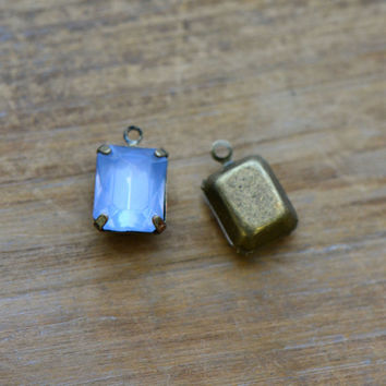 4 - Small Rectangle Jewel Charms LIGHT BLUE Drop Gem Rectangle 8x10mm Brass Claw Setting Charm or Link Gold Antique Bronze Silver (AW040)