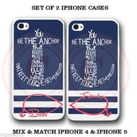 Blue Stripe Sailor Anchor BFF Best Friends Case -2 Cases For iPhone 6 6S 4 5S 5C