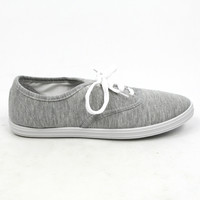 """Buddy"" Canvas Lace Up Walking Sneakers - Gray"