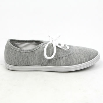 """""""Buddy"""" Canvas Lace Up Walking Sneakers - Gray"""