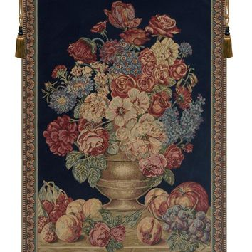 Vase on Blue Mini Tapestry Wall Hanging