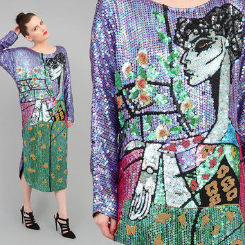 OOAK Vintage 80s Sequin Dress Avant Garde LADY Dress Silk Beaded Art Deco Flapper Midi Dress Medium Large M L