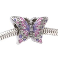 Silver Tone Two Sided Pink And Purple Butterfly Large Hole Bead Fits Pandora (1)