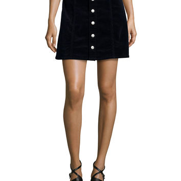 Kety Button-Front Denim Skirt, Dark