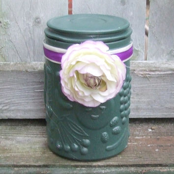 English Garden Wedding / Spring Wedding / Wedding Centerpiece / Wedding Candle Holder / Shabby Chic Wedding / Purple and Green  / Silk Peony