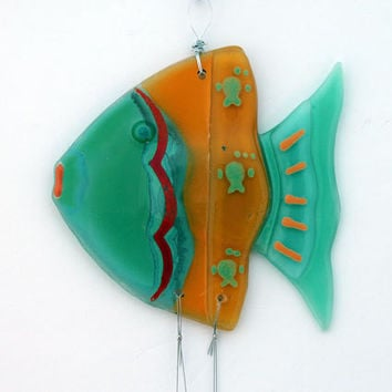 Fused Glass orang teal bluu fish  Windchime, Suncatcher, Summer Collection.
