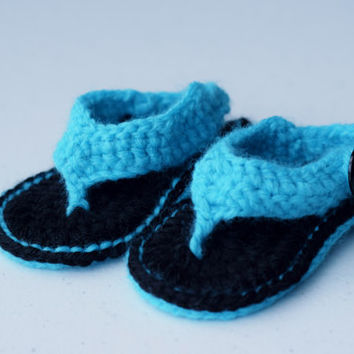 Neon Blue and Black Handmade Crochet Baby Flip Flops - Boy or Girl - Matching accessories can be made upon request! More colors in our shop!