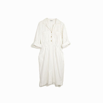 Vintage 80s White & Gold Pinstriped Shirtdress / Yuppy Dress / 90s Shirt Dress - women's medium