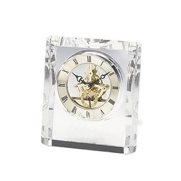 Personalized Free Crystal Clock with Black Accents and See-Thru Movements