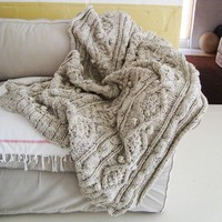 chunky oatmeal cable knit throw by BiscuitScout on Etsy