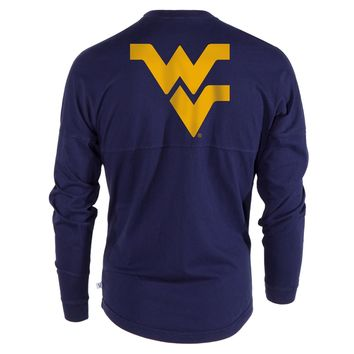 Official NCAA West Virginia University Mountaineers Hail WVU Women's Long Sleeve Spirit Wear Jersey T-Shirt