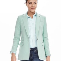 Turquoise One-Button Blazer