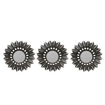 Set of 3 Floral Sunburst Inspired Brushed Bronze Round Mirrors 9.5""