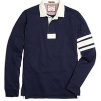 "Solid Brooks ""8"" Contrast Rugby - Brooks Brothers"