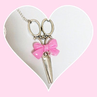 antique scissors n bow necklace choose your bow color