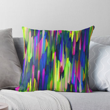 'Colorful digital art splashing G256' Throw Pillow by MEDUSA GraphicART