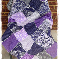 SALE - Twin Rag Quilt  - Ready To Ship - Phoebe - Plum - Gray - Eggplant - Lavender - Handmade Bedding