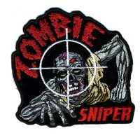 "Embroidered Iron On Patch - Zombie Sniper 4"" Patch"