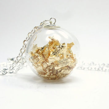 Bubble Collection - Gold Leaf Filled Light Air Hand Blown Glass Bubble Round Orb Silver Pendant Necklace