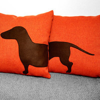Dachshund Pillow Covers  Sausage Dog Pillow by ItsTimeToDream