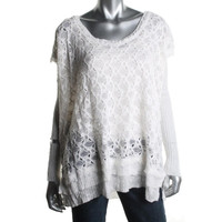 Free People Womens Crochet Hi-Low Pullover Sweater
