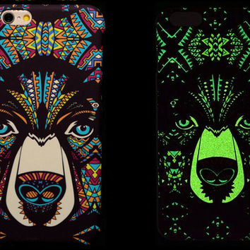 So Cool Night King Bear Animal Handmade Carving Luminous Light Up iPhone creative cases for 5S 6 6S Plus Free Shipping