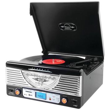 Pyle Home(R) PTR8UBTBK Bluetooth(R) Retro Vintage Classic Style Turntable Vinyl Record Player with USB-MP3 Computer Recording