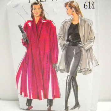 Womens Coat Pattern, New Look 6181, Size 8 thru 18, Un Cut, Sewing Notions
