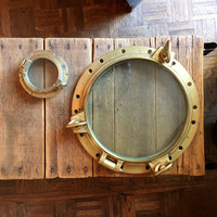 Antique Porthole, LARGE Brass Porthole, Porthole Window, Nautical Decor